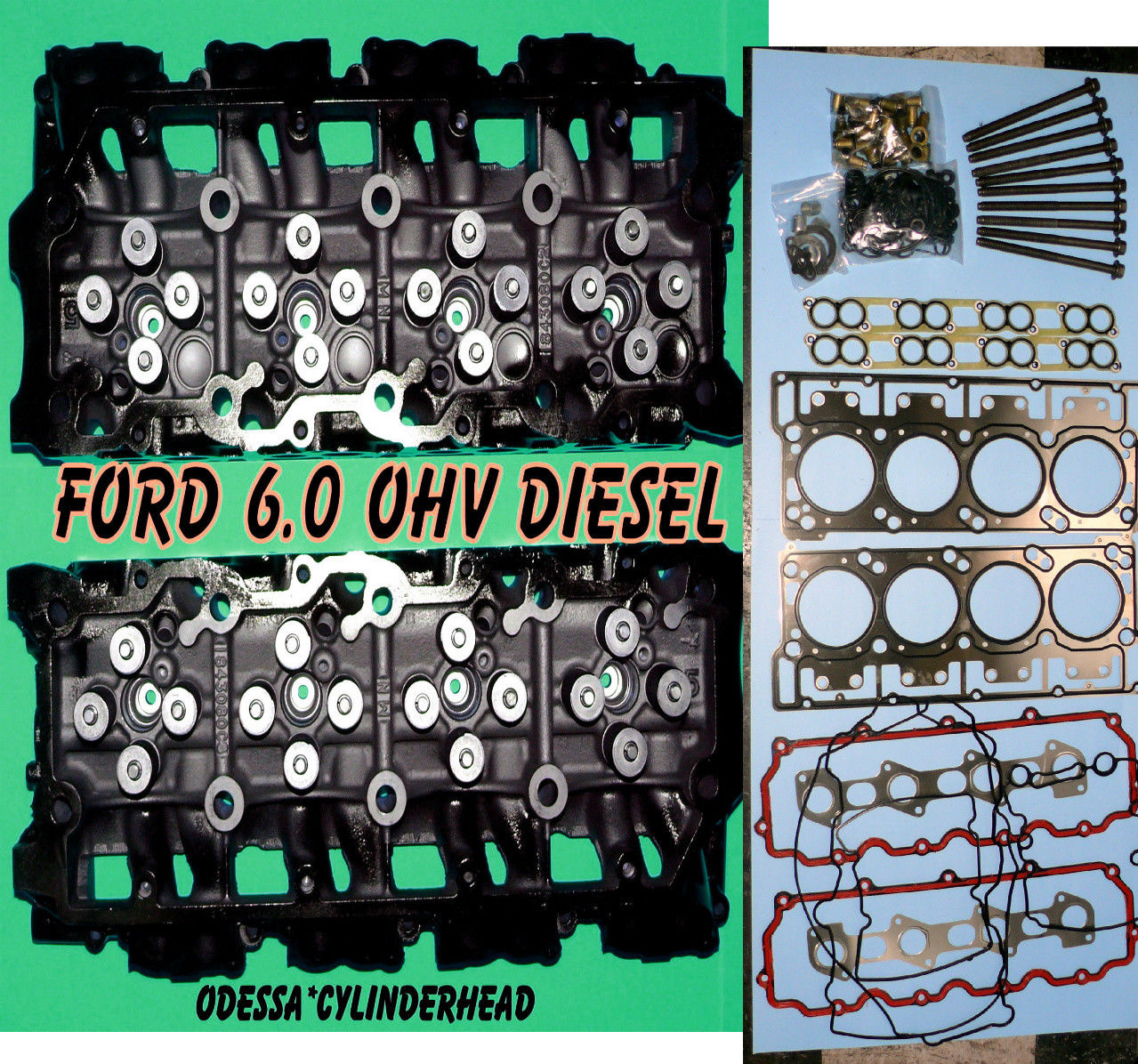 NEW 2 FORD 6.0 TURBO SEL F350 TRUCK CYLINDER HEADS 18MM CAST #080 BOLT Aftermarket Jeep Cylinder Head on